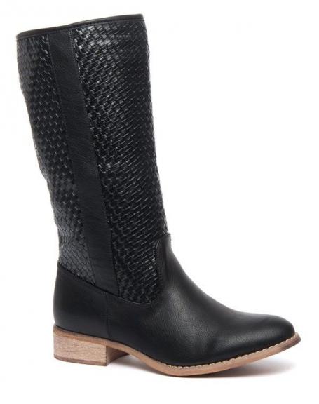 Botte haute noire à jambière tressée Alicia Shoes