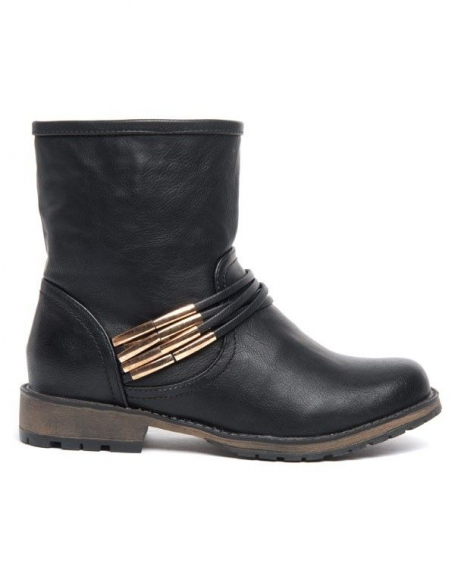 Botte mi-haute Alicia Shoes noires, brides en lanières, ornements dorés
