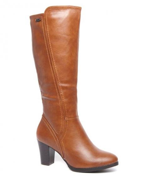 Botte montante Style Shoes talons épais camel