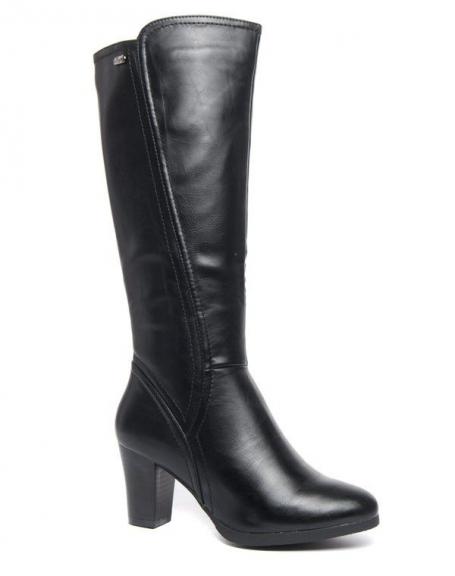Botte montante Style Shoes talons épais noir