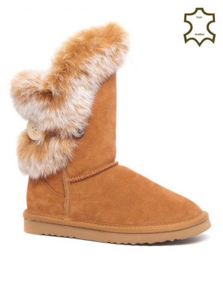 Botte neige Sinly Shoes camel doublure fourrure