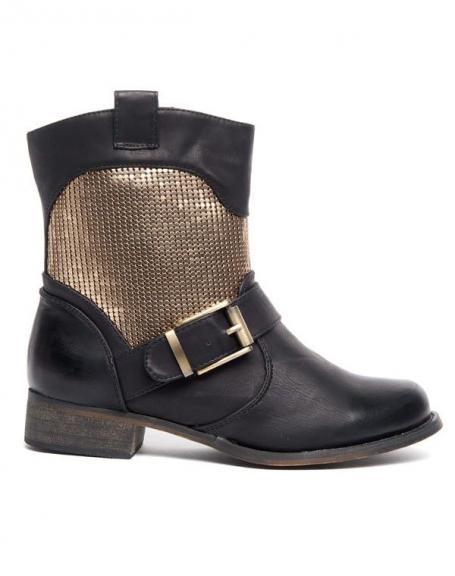 Bottes Alicia Shoes noires à bride, effet patiné sur la boucle et aux extrémités