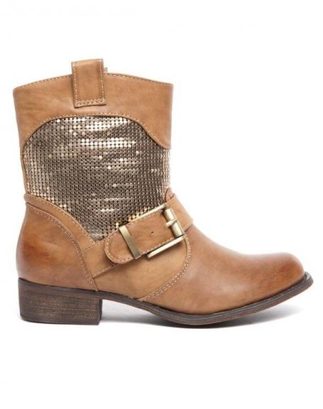 Bottes Alicia Shoes taupe à bride, effet patiné sur la boucle et aux extrémités