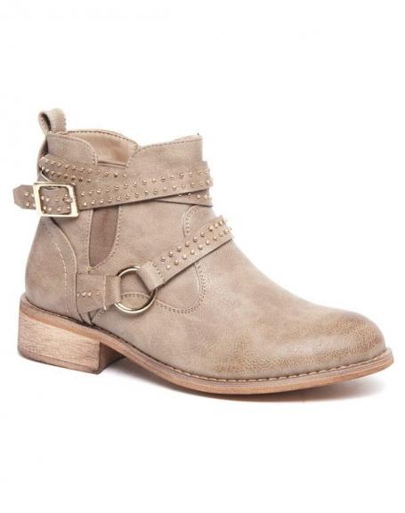 Bottes basses Alicia Shoes grises, sangle avec anneau et piquée de clous