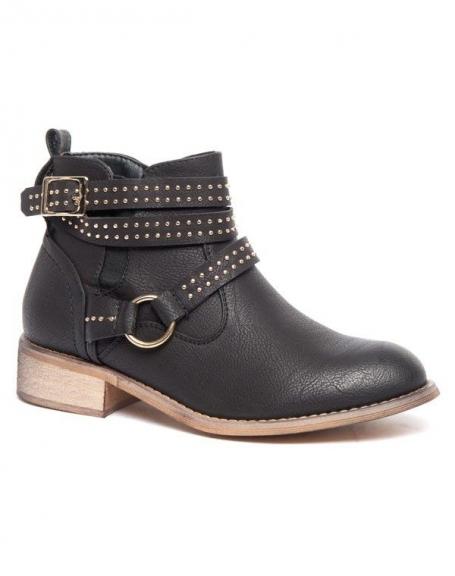 Bottes basses Alicia Shoes noires, sangle avec anneau et piquée de clous