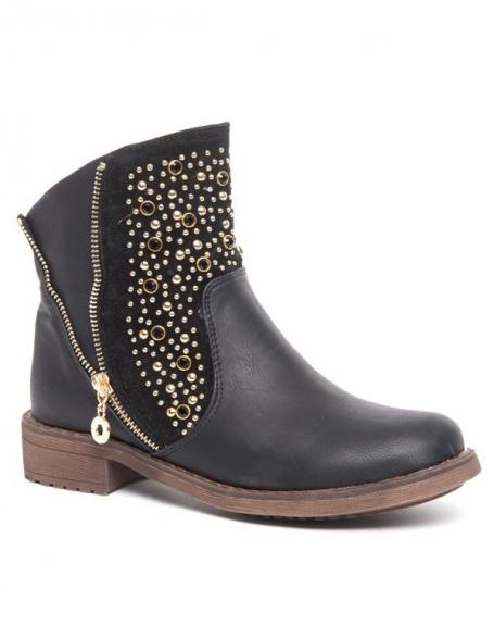 Bottes basses noires Bellucci, clous dorés et perles noires