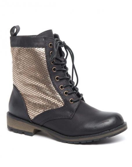Bottes hautes Alicia Shoes noir, strass cuivré, patiné à l'avant