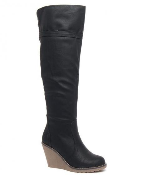 Bottes hautes patinées noire Alicia Shoes talon compensé
