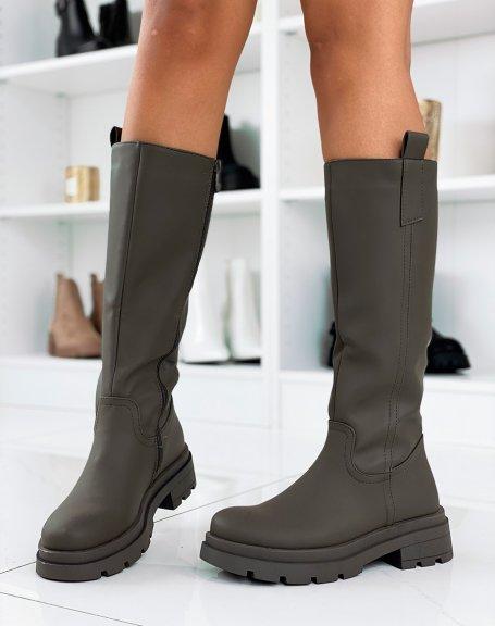 Bottes hautes vert kaki gommées