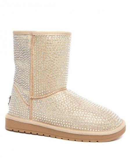 Bottes hiver ICE Queen or à strass doublure fourrure