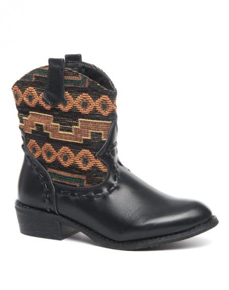 Bottes Ideal tissus motif ethnique noire