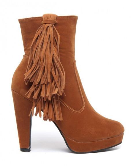 Bottes Like Style à franges et talons haut effet suédine camel