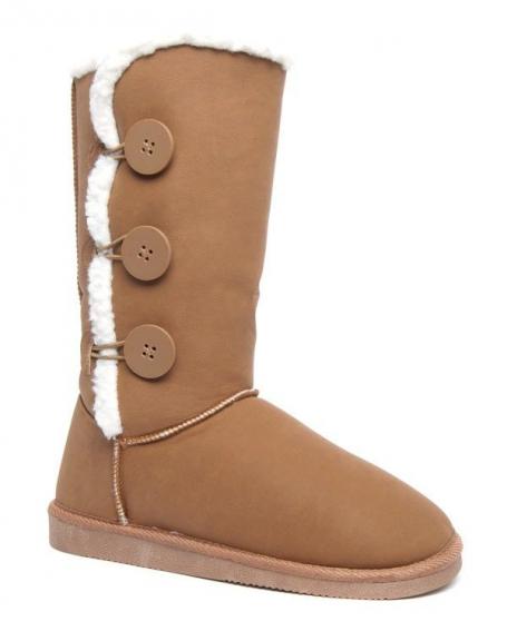 Bottes neige hautes Alicia Shoes à boutons camel