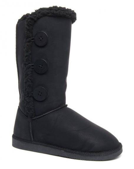 Bottes neige hautes Alicia Shoes à boutons noire