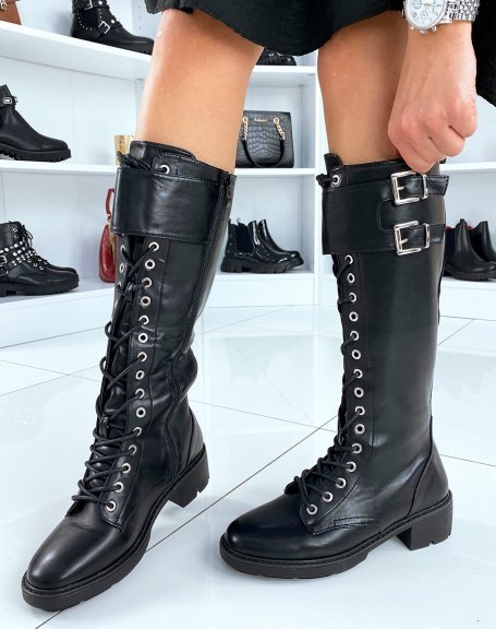 Bottes noires à lacets en similicuir