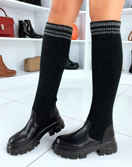 Bottes noires effet chaussettes à paillettes