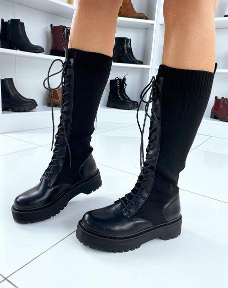 Bottes noires lacées façon chaussette