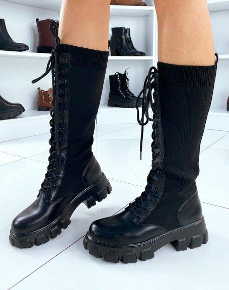 Bottes noires lacées façon chaussette à semelles crantées