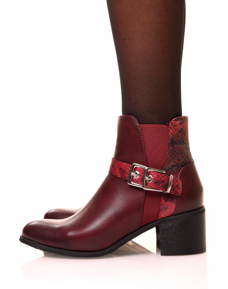 Bottines bordeaux à talon moyen