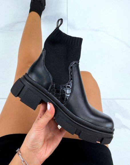 Bottines chaussette noires à semelle crantées