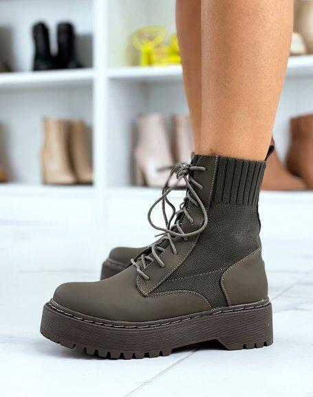 Bottines chaussettes kaki à semelle épaisse