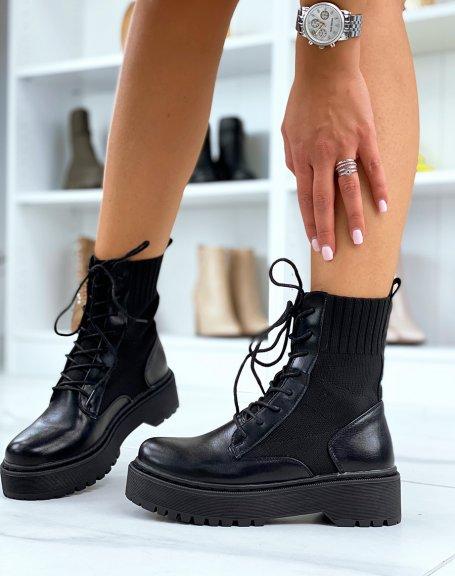 Bottines chaussettes noires à semelle épaisse