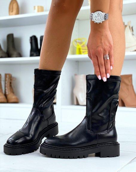 Bottines montantes noires style chaussettes souples