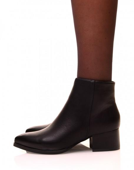 chaussures femme bottines noires talons carr et bouts. Black Bedroom Furniture Sets. Home Design Ideas