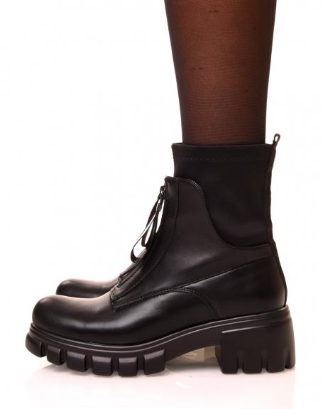 Bottines noires à zip effet chaussette