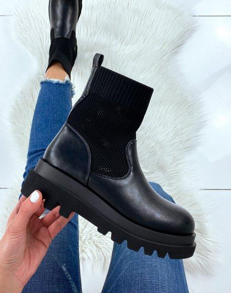 Bottines noires bi-matières chaussette
