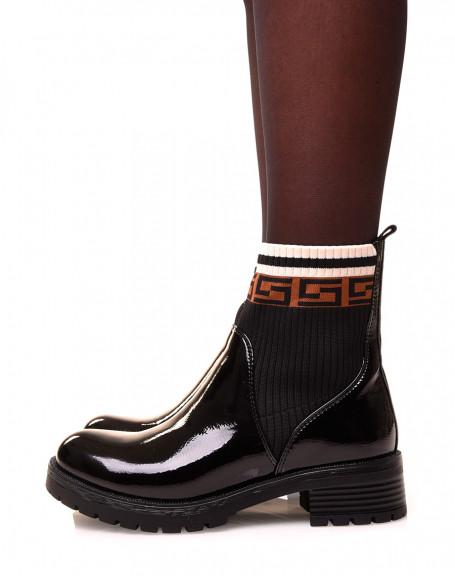 Bottines noires vernis à effet chaussette