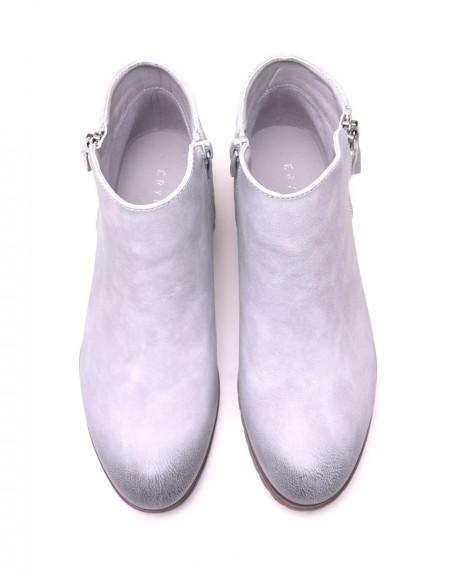 Bottines plates bi matières gris clair