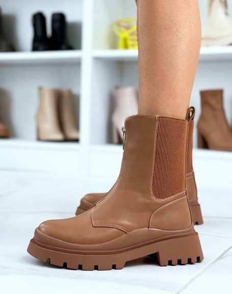 Brown high ankle boots with zip and elastic