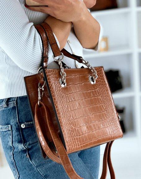Camel croc-effect handbag