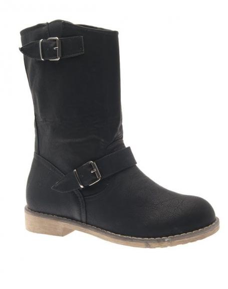 Chaussure femme Abloom: Botte plate noire