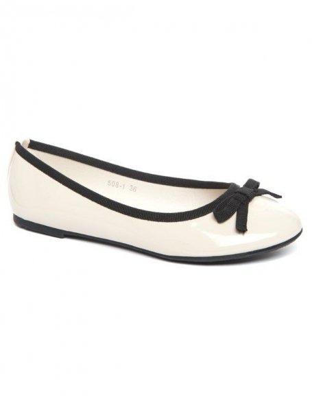 Chaussure femme Alicia: Ballerine bi couleur beige (crème)