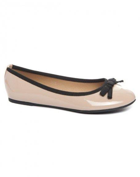 Chaussure femme Alicia: Ballerine bi couleur kaki (beige)