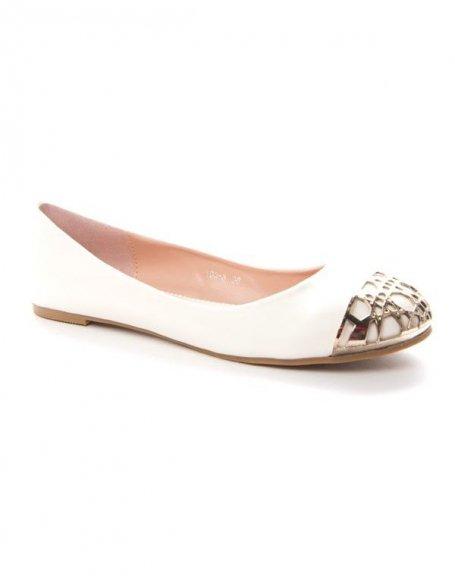 Chaussure femme Alicia: Ballerine bout dorée - blanc