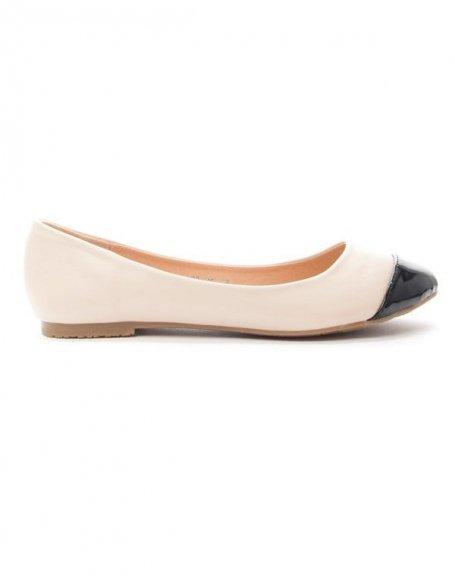 Chaussure femme Alicia: Ballerine bout vernie - beige