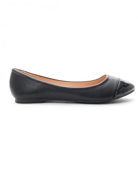 Chaussure femme Alicia: Ballerine bout vernie - noir