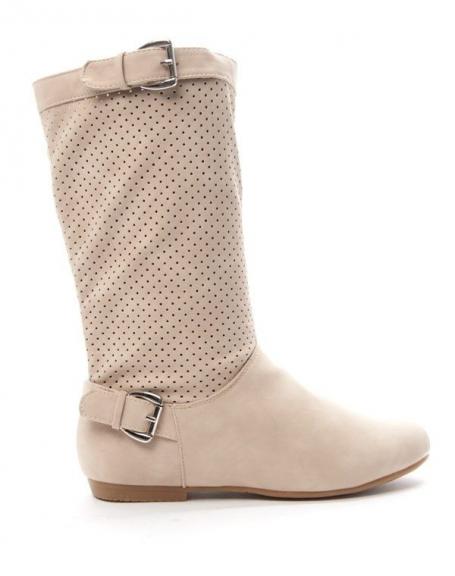 a58c8d027b01 Chaussure femme Alicia  Botte perforée - beige