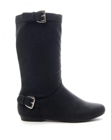 Chaussure femme Alicia: Botte perforée - noir