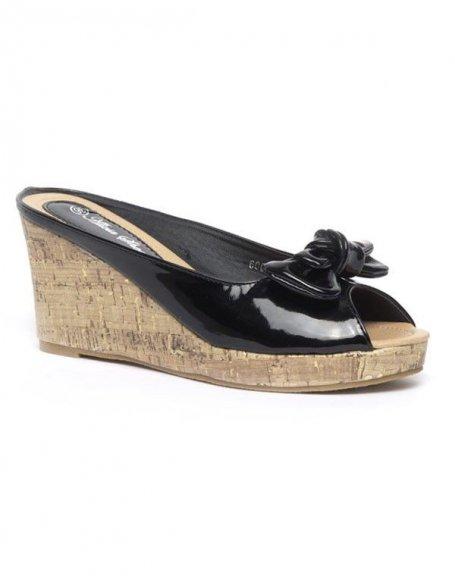 Chaussure femme Alicia: Sandales vernie, compensé lièges noires