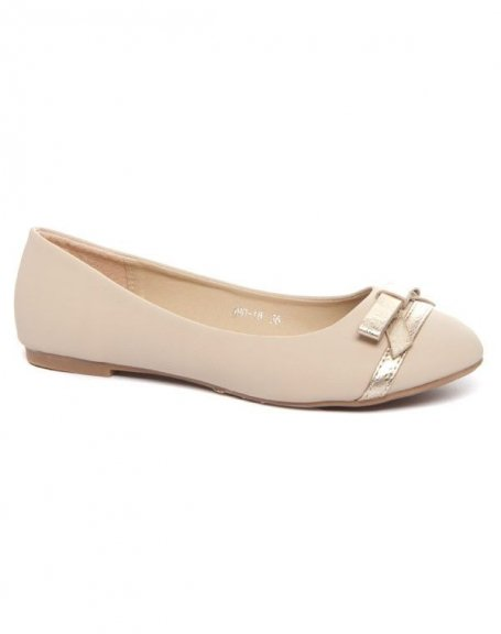 Chaussure femme Alicia Shoes: Ballerines cremes noeud doré