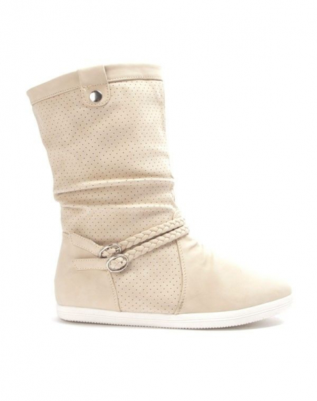 Chaussure femme Alicia Shoes: Botte style basket - beige