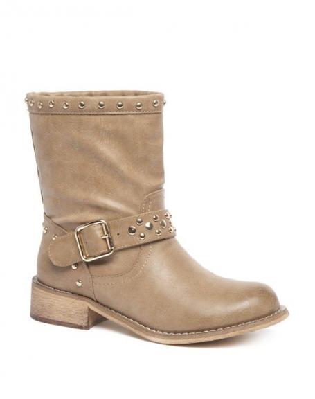 Chaussure femme Alicia Shoes: Bottes à clous beige