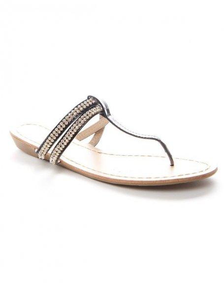 Chaussure femme Alicia: Tong à strass noir