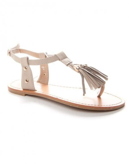 Chaussure femme Alicia: Tong avec pompons - beige