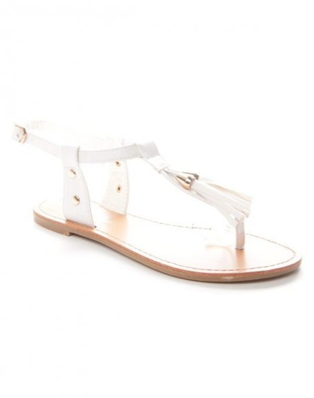 Tong Avec Femme Pompons Chaussure Blanc Alicia fpTSwWU