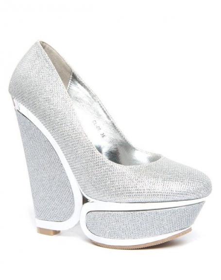 Chaussure femme argent Style Shoes: Escarpins compensé